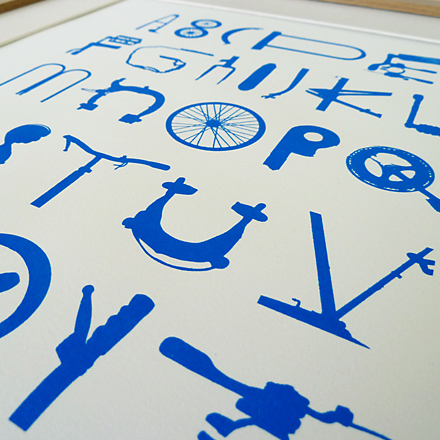 Bike Type screenprinted poster