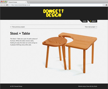 Dowsett Design website with Stool + Table project