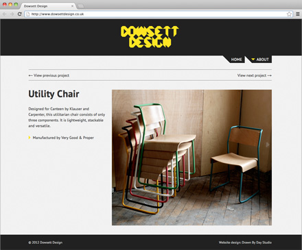 Dowsett Design website with Utility Chair project