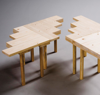 Softwood tables by Will Dowsett