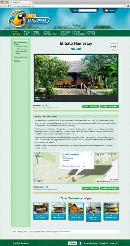 Go Tambopata Accommodation Detail Page